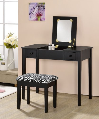 Contemporary Vanity Set with Flip Mirror Top and Zebra Print Stool Black Finish by efurniturecenters