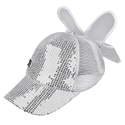 Kids Baseball Cap Sequins Lace Summer Bowknot M Logo Anti -Sweat Large Brim Hat by RUIXIB