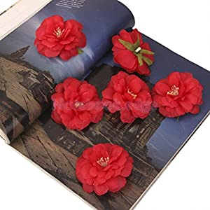 10 x Artificial Camellia Flower Heads Silk Roses Wedding Party Decor DIY Red 83