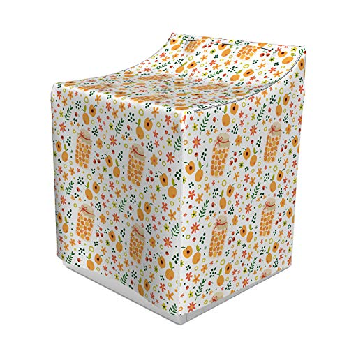 Lunarable Apricot Jam Washer Cover, Cute Repetitive Pattern with Fruit Berries Compote Jar and Botanical Elements, Easy to Use Bathroom Accent Fabric, 29