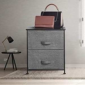 AZ L1 Life Concept Vertical Dresser Storage Tower, 20.07, Dark Grey+Grey Fabric Handdle