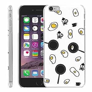 DAOJIE Generic iPhone 6 plus 5.5 inch Phone Case - [Slim Snap On] - Breakfast, Coffee, French Press, Eggs, Fried Eggs, Fried Eggs in Pan [White]
