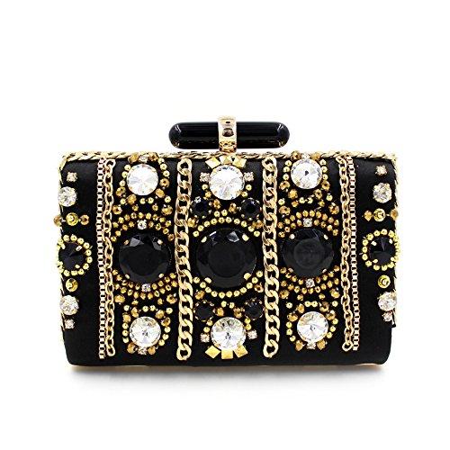 WYB Europäischen und amerikanischen Luxus Schwere gem / Diamant-Abendbeutel / High-End-Hand Perlen Abendtasche