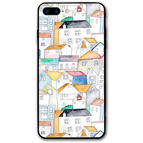 Shiny Roof (MOLLYY Watercolor Rooftops Phone Case Design For Apple IPhone 8 Plus 5.5 Inch)