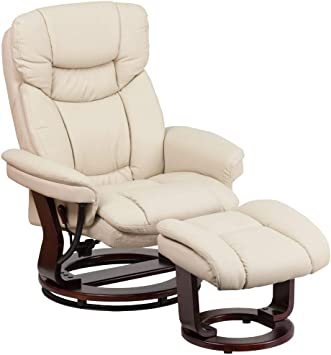 Amazon Com Flash Furniture Recliner Chair With Ottoman Beige Leathersoft Swivel Recliner Chair With Ottoman Footrest Furniture Decor