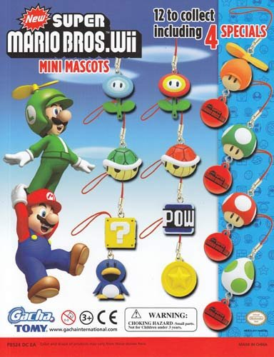 Super Mario Bros. Wii Mini Mascots Charms Set of 12 Vending Toys - Capsule Toys ()