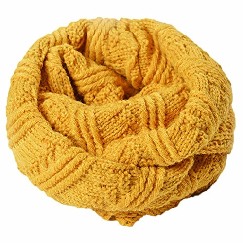 Realdo Women Scarf Solid Warm Knit Neck Circle Scarf