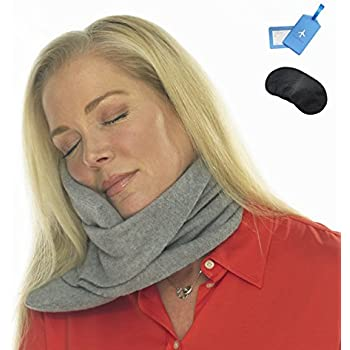 SHOULDER SLEEPER Travel Pillow, Neck Pillow, Airplane Pillow, Firm Neck Support, Lightweight, Ergonomic Design Fleece Pillow Travel Kit with Sleep Mask and Luggage Tag