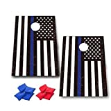 Thin Blue Line American Flag Cornhole Game - Police Gift Bag Toss Game - 8 Bags included - Wooden Boards