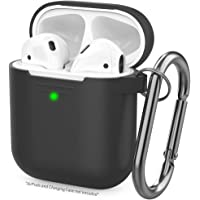 AhaStyle Upgrade AirPods Case Silicon Protective Cover [Front LED Visible] Compatible with Apple AirPods 2 & 1 (Black)