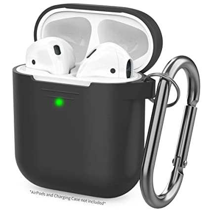 sports shoes ae002 790cf AhaStyle Upgrade AirPods Case Protective Cover (Front LED Visible) Silicone  Compatible with Apple AirPods 2 and 1(Black)