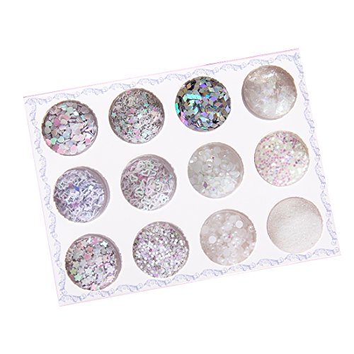 Probeauty 12 boxes of Paillette Chunky Glitter Flakes Sequins Heart,Star shape etc Colorful for Face Eyes Makeup Hair Body Art (Star Shape Jewel)