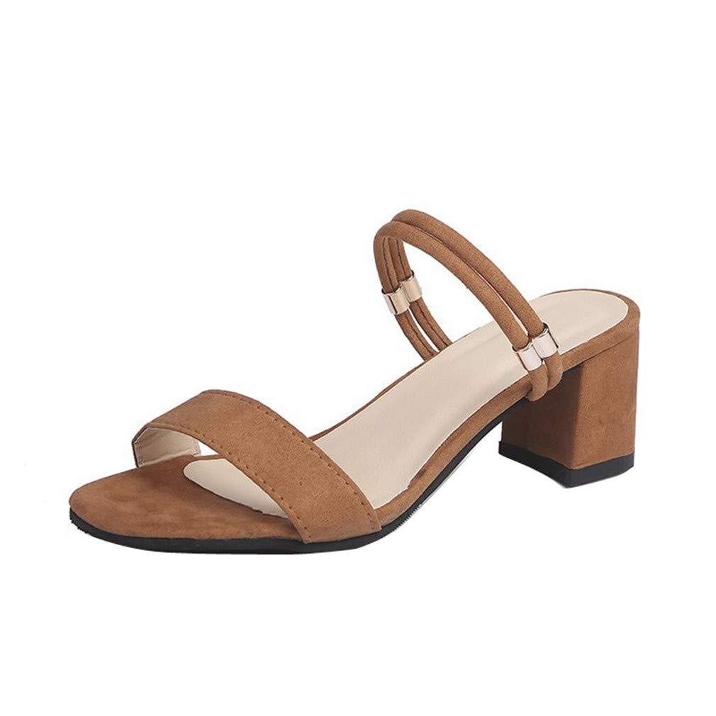 YUCH Chaussures B00MY4MVGQ YUCH pour Femmes Épaisses avec des avec Pantoufles Froides en Été Brown 580f795 - piero.space