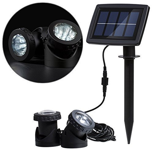 Spotlight Submersible Lighting Landscape (Docooler® Solar Powered Super Bright 2 Underwater Lamps 12 LEDs Light Sensor Projector Light Garden Pool Pond Yard Submersible Spotlight Outdoor Landscape Lighting Color White)