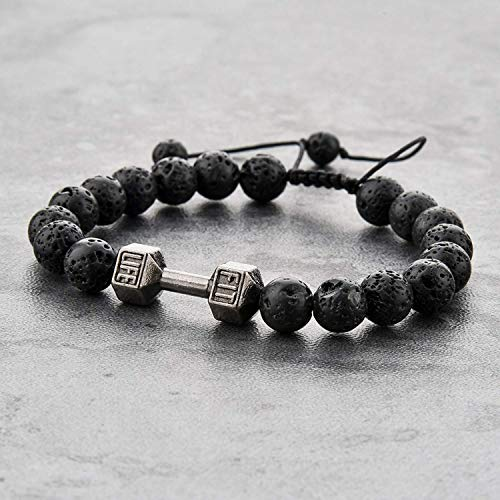 Mystiqs Fitness Adjustable Lava Rock Beaded Stone Bracelets Essential Oil Diffuser for Men/Women, Aromatherapy Ideal for Anti-Stress or Anti-Anxiety