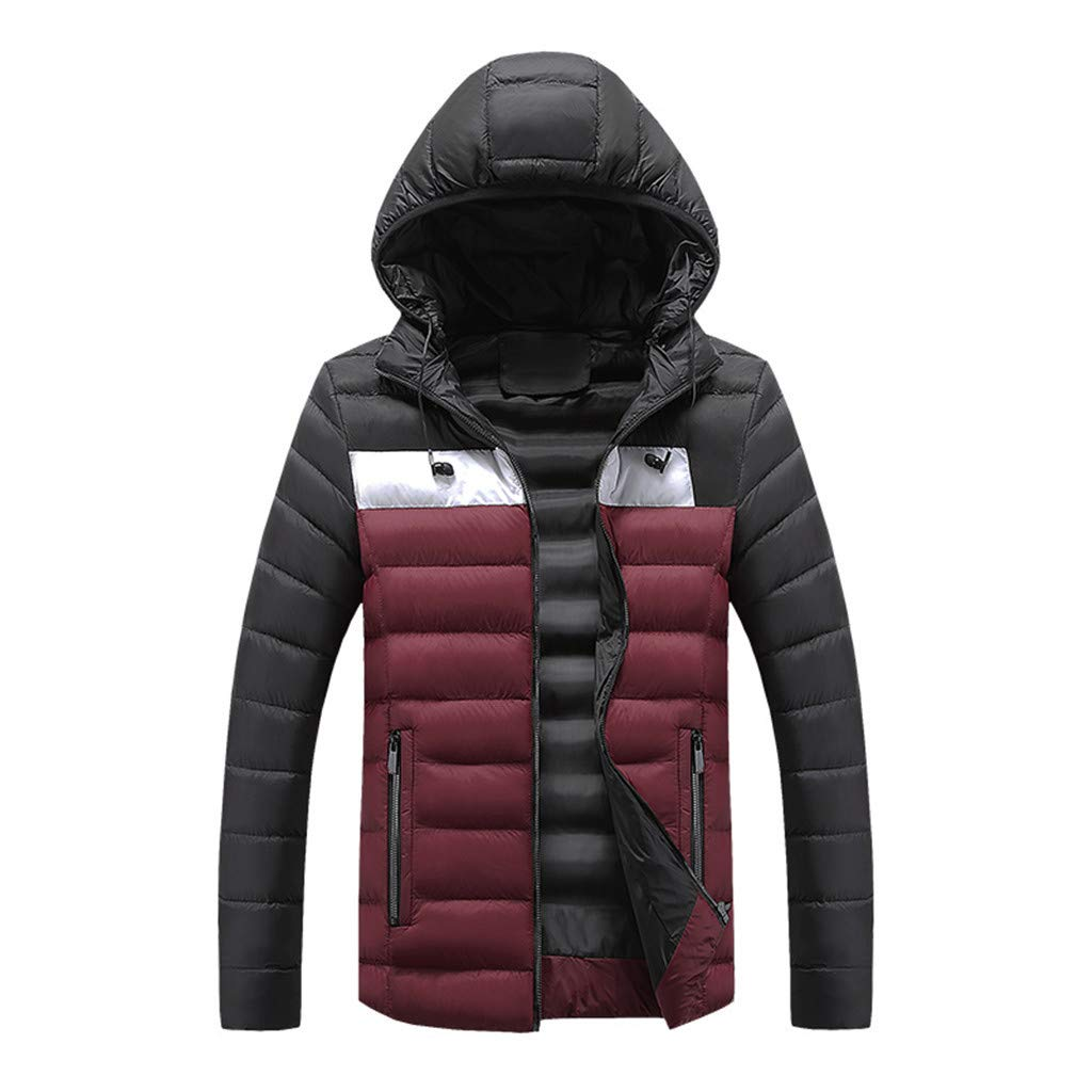 Ellymi Men's Heavy Packable Puffer Down Jacket Winter Water-Resistant Hooded Coat Windproof Outdoor for Winter Parka Red by Ellymi