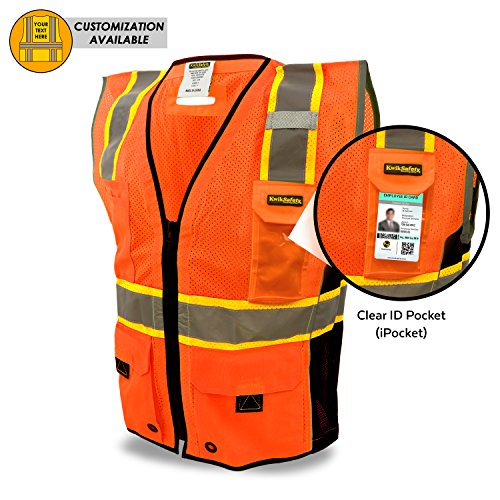 KwikSafety CLEARANCE | TOP DOG Class 2 iPocket Safety Vest | 360° Hi Vis Reflectivity ANSI Compliant Work Wear | Hi Vis 8 Pocket Breathable Mesh Men & Women Regular to Oversized Fit | Orange S/M (Dog Safety Safety Vest)