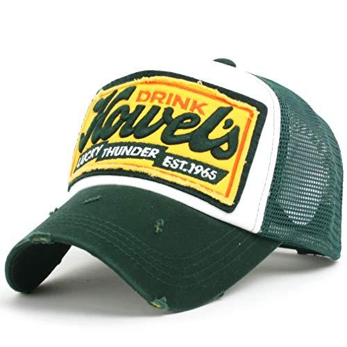tililily Howel's Distressed Vintage embroidered logo Patch curved Mesh w/Adjustable Strap Trucker Hat-001-5,One size,Green,Green,Medium