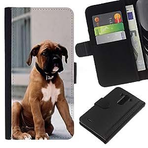 [Neutron-Star] Modelo colorido cuero de la carpeta del tirón del caso cubierta piel Holster Funda protecció Para LG G3 [Boxer Dog Breed piel de Brown Cachorro]