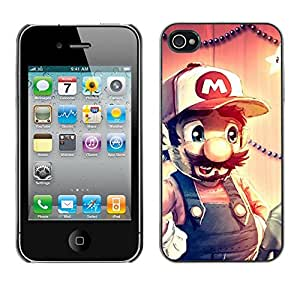 Design for Girls Plastic Cover Case FOR iPhone 4 / 4S FUNNY - MARIO HIPSTER OBBA