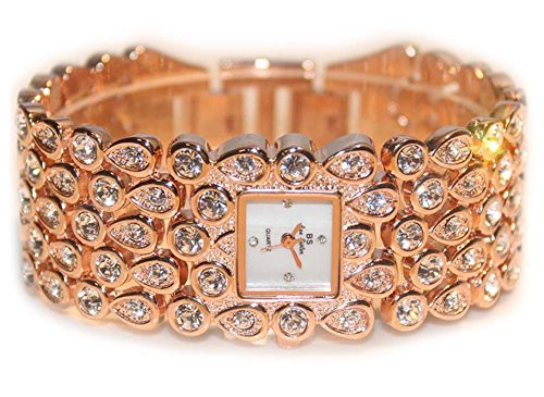 ChezAbbey Women Stylish Quartz Wrist Watch With Fully Studded Crystal Bracelet, Rose - Watch Studded Cuff