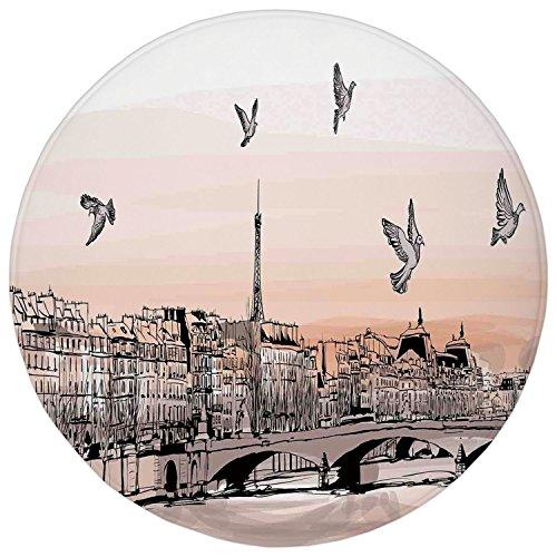Panorama Landscape (2.95 Ft Round Bathroom Rug,Landscape,Panorama Sketch Art Sunset View of Paris From Pont Des Arts with Pigeons River,Peach Grey,Flannel Microfiber Non-slip Soft Absorbent Kitchen Floor Bath Mat Carpet)