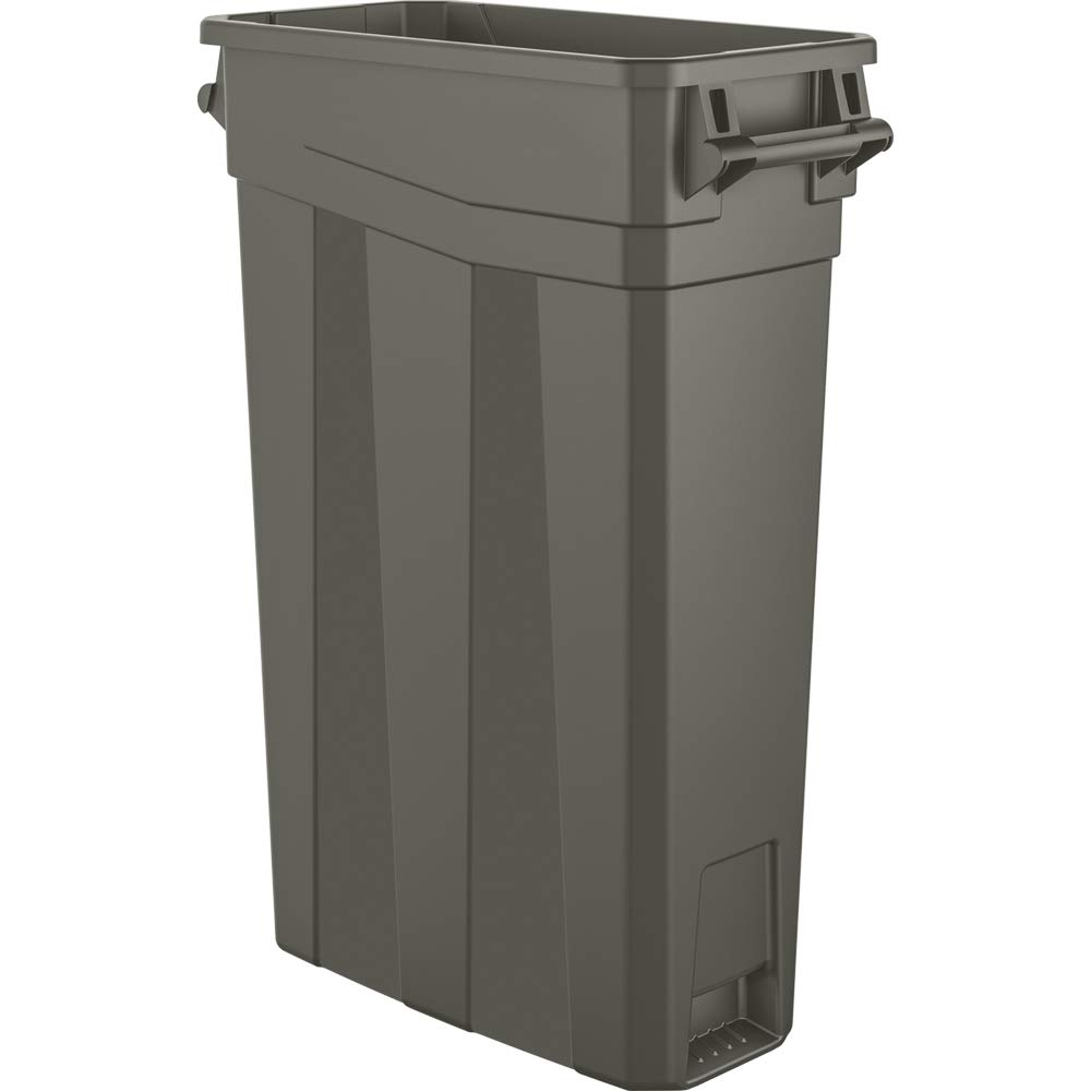 AmazonBasics 23 Gallon Commercial Slim Trash Can with Handle, Grey, 4-Pack