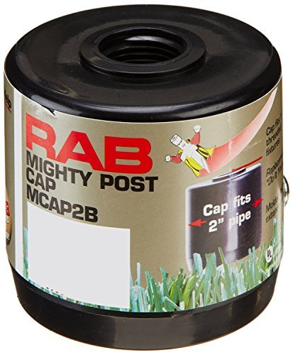 "RAB Lighting MCAP2B Mighty Post Cap for 2"" Pipe, 2-3/8"" OD x 2-3/4"" Height, Black (2 Pack)"