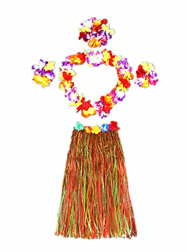 Hawaii Dancing Hula Set Grass Skirt Adult Costume Suit(Skirt color:multicolor,thicken)