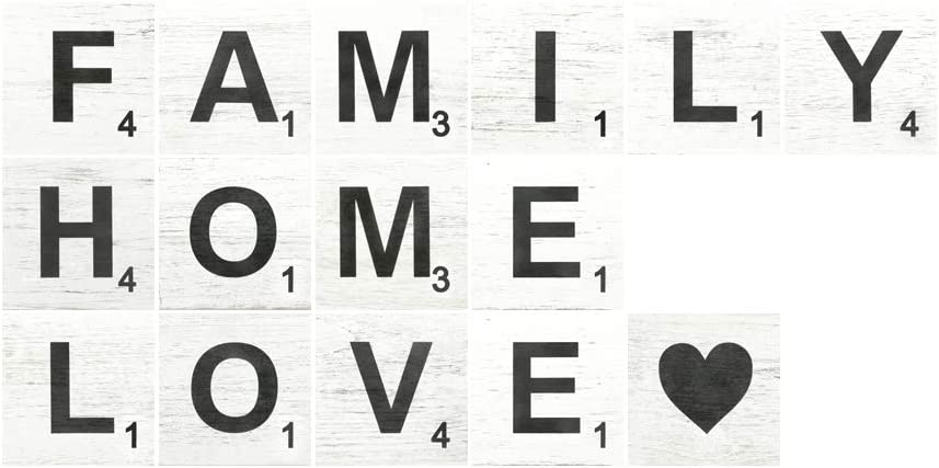TenXVI Designs Large Rustic Scrabble Tiles for Wall Decor - Family, Home, Love - Big Decorative Square Wooden Letters for Wall Art, Farmhouse Kitchens, Living Rooms, Bedrooms - 15 Pieces, 5 x 5""