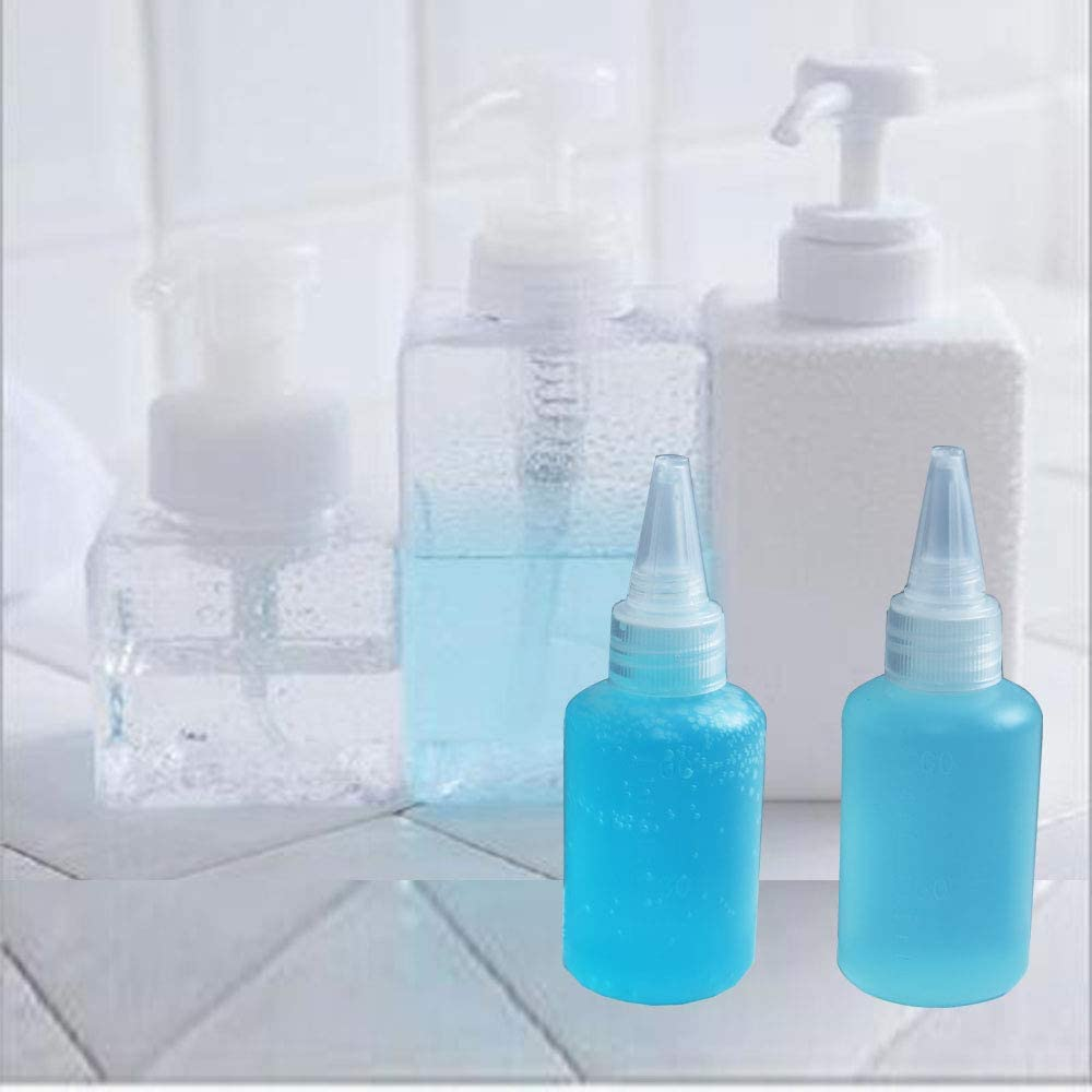 Heatoe 20 Pack 2oz Squeeze Bottles,Plastic Mini Empty Squirt Bottle with Attachable Cap Lids,Nice for Crafts,Art,Glue,Multi-Purposes Set and More