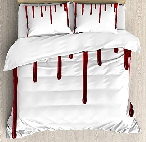 Bruyu5se Horror Duvet Cover Set Queen Size - Flowing Blood Horror Spooky Halloween Zombie Scary Help Me Phrase Themed Illustration - Decorative 3 Piece Bedding Set with 2 Pillow Shams - Red White