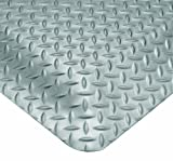 Wearwell PVC 414 UltraSoft Diamond-Plate Heavy Duty Anti-Fatigue Mat, Safety Beveled Edges, for Dry Areas, 3' Width x 5' Length x 15/16'' Thickness, Gray