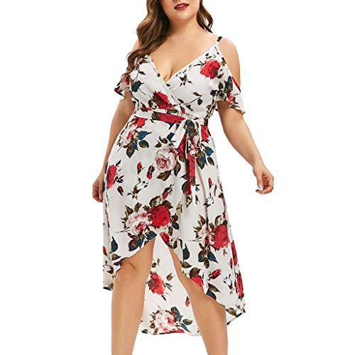 CCatyam Plus Size Dresses for Women, Skirt V Neck Print Cold Shoulder Camis Sexy Casual Party Fashion White