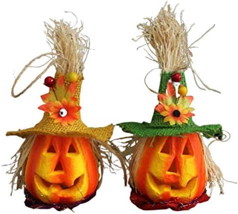 Uonlytech Pompoen lantaarn voor Halloween pootafdrukken holle lichtgevende pompoen tafellamp voor festival party 2 stuks
