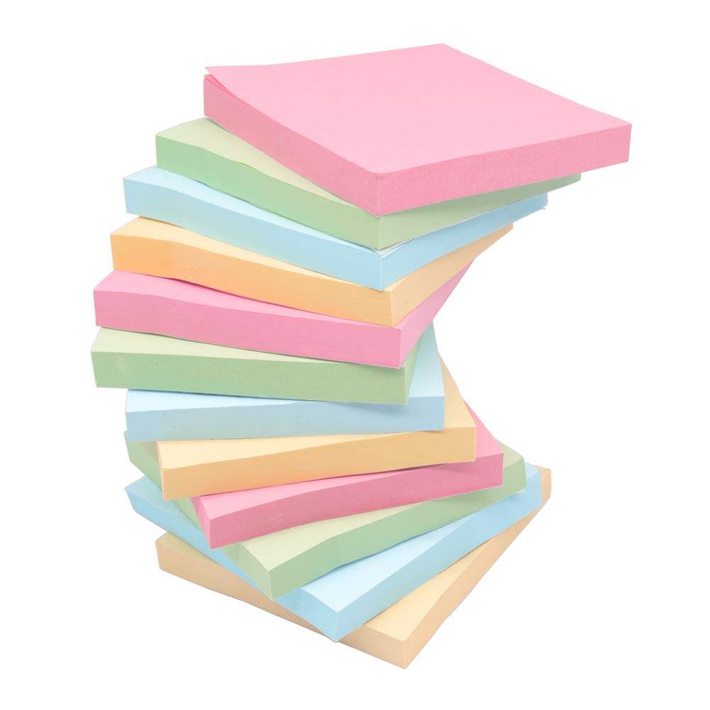 Sticky Notes, Top Honor 4 Candy Colors Self-Stick Notes, 3 inch x 3 inch, 12 Pads/Pack,100 Sheets/Pad, Easy Post for Office, School, Home