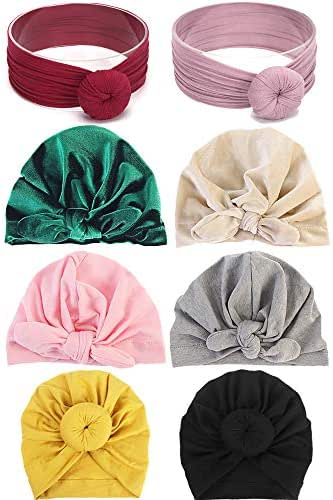 Nictrue 8 Pack Newborn Baby Turban Knot Wrap Hat Toddler Cap Girl Headbands Bow Head Wrap Knotted Hair Band