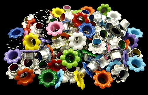 100pcs aluminium Mixed Colors Flowers EYELET Scrapbooking CARD Hole LeatherCraft E099 -