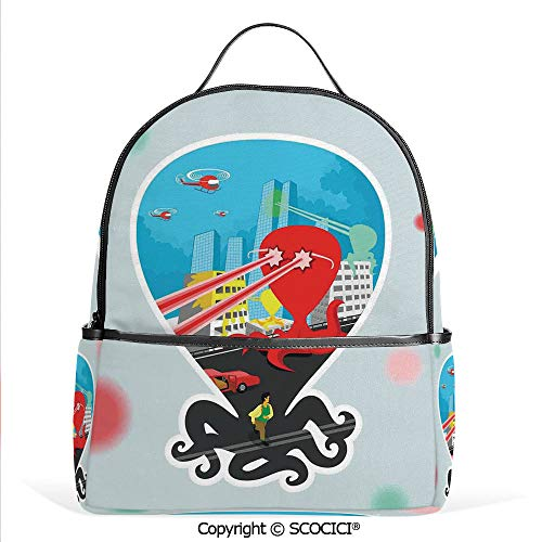 Hot Sale Backpack outdoor travel Monster Octopus with Giant Tentacles Attack City Retro Style Cartoon Art Illustration Decor,Multi,With Water Bottle Pockets