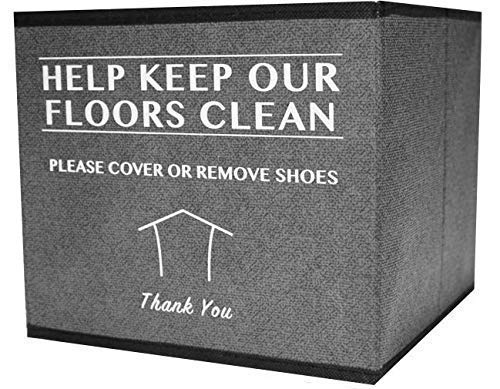Shoe Cover Box | Disposable Shoe Bootie Holder for Realtor Listings and Open Houses | Please Cover or Remove Shoes Bin ()