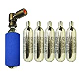 CO2 pump 2in1 Presta & Schrader PUSH'n GO Valve Compatible with 5 x Co2 Cartridges Included
