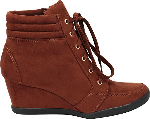 Brown Women's Wedge Cambridge Lace Fashion Select Sneaker up Zipper Hgw8AOxwq