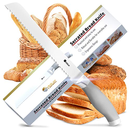Stainless Bread - Orblue Serrated Bread Knife, Ultra-Sharp Stainless Steel Bread Cutter (8-Inch Blade with 5-Inch Handle)