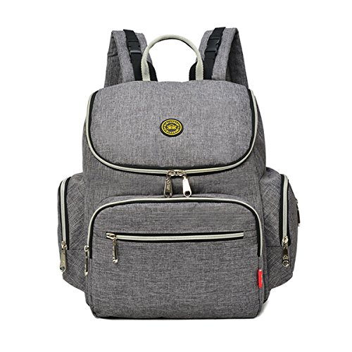 Diaper Bag Backpack, Large Capacity Baby Nappy Organizer Bag Backpack for Dad/Mom, Travel Backpack with Baby Bottle Compartment for Baby Care(Grey) by SENT CHARM