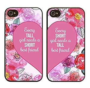 For iphone 5c 5, Set of 2, BFF Best Friends Forever Lover Snap on Case Cover for Apple For iphone 5c (Every Tall or Short Girl Needs Short or Tall Best Friend)