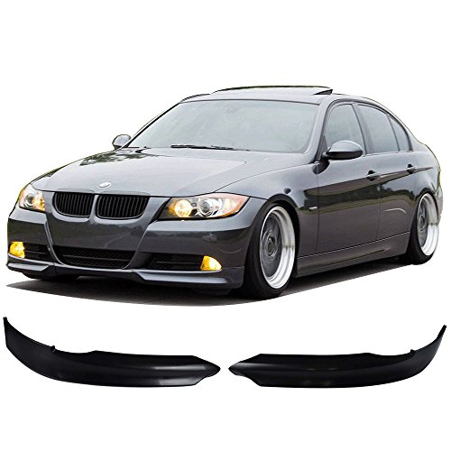 Bmw 330i Front Bumper - Front Bumper Lip Fits 2005-2008 BMW E90 | OE Style Black PP Front Lip Finisher Under Chin Spoiler Add On by IKON MOTORSPORTS | 2006 2007