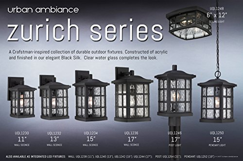 Luxury Craftsman Outdoor Ceiling Light, Small Size: 5.75''H x 12''W, with Tudor Style Elements, Highly-Detailed Design, High-End Black Silk Finish and Water Glass, UQL1248 by Urban Ambiance by Urban Ambiance (Image #6)