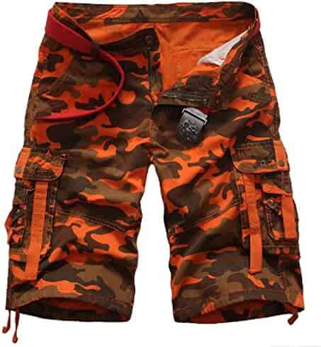 Zimaes Mens Oversized Elastic Waist Camo Wild Short Baggy Pants Sports Apparel