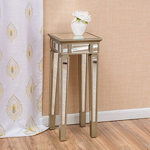 Great Deal Furniture 296716 Vaughn Silver Vintage Mirror End Table,