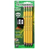 Ticonderoga Wood-Cased My First Pencils, #2 HB Soft, Pre-Sharpened, With Eraser, Includes Bonus Sharpener, Yellow, 4 Count (33309)